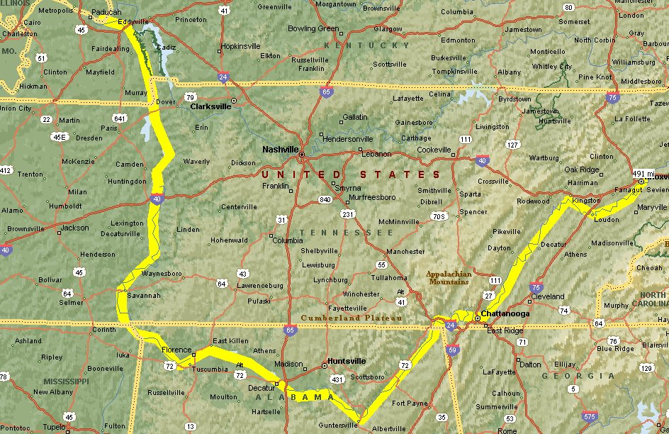 Tennessee River Cruise Great Loop Cruising Blog - Tn river map